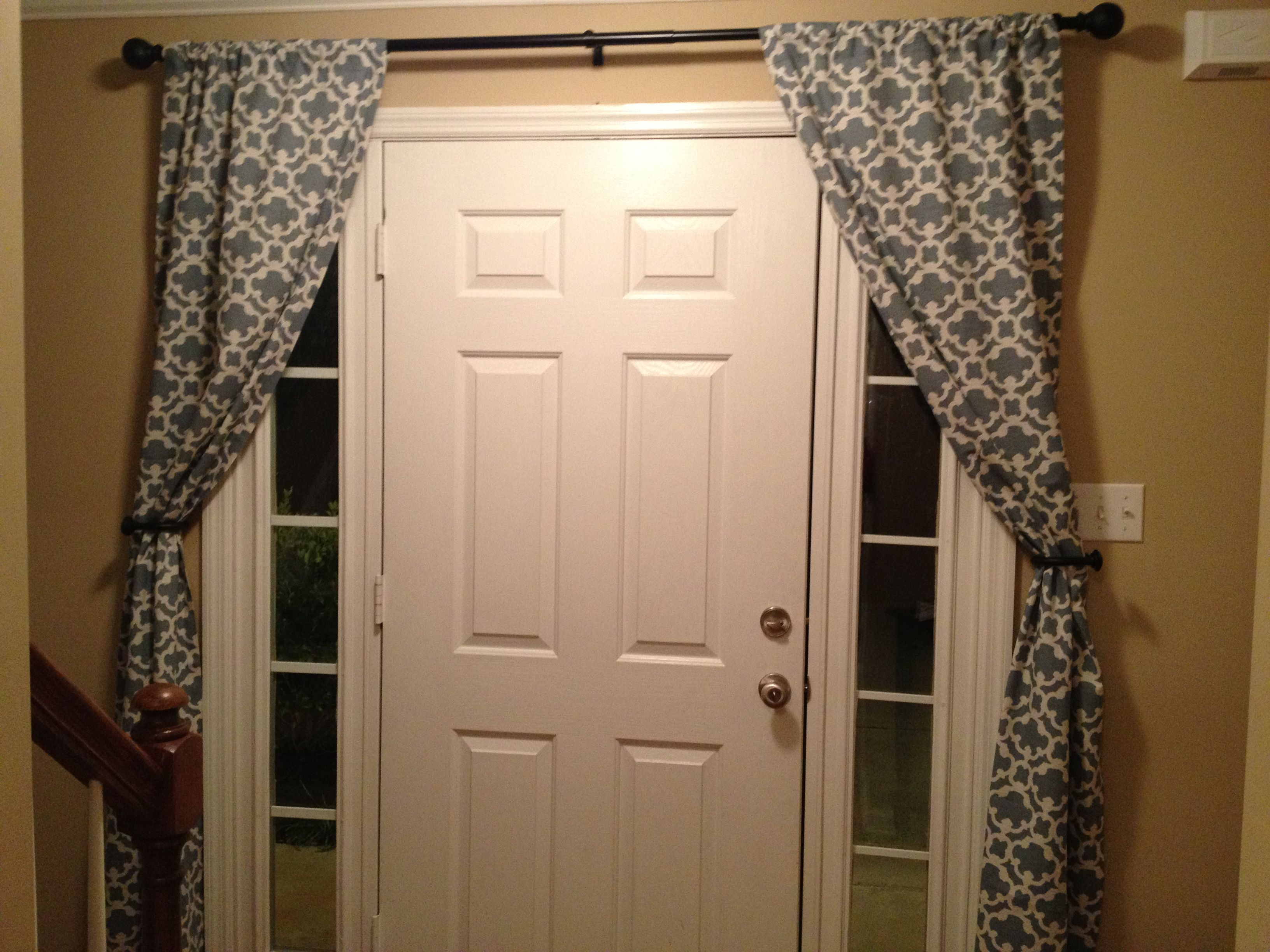 Curtains to cover sidelights home stuff pinterest for Front door window blinds