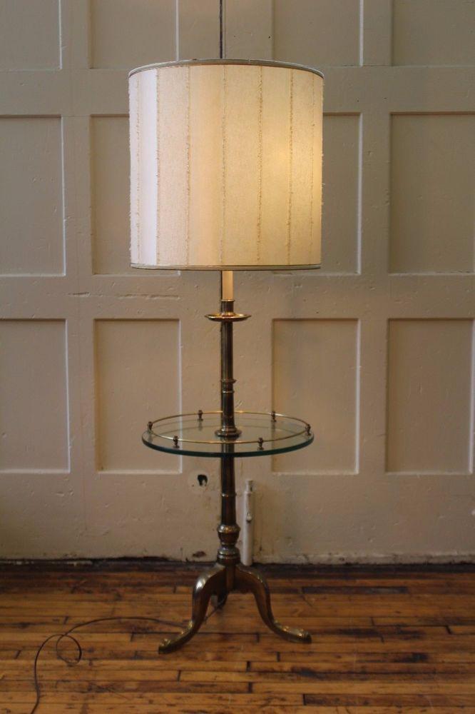 Stiffel Heavy Brass Floor Lamp Table Vintage 3 Leg Glass Top