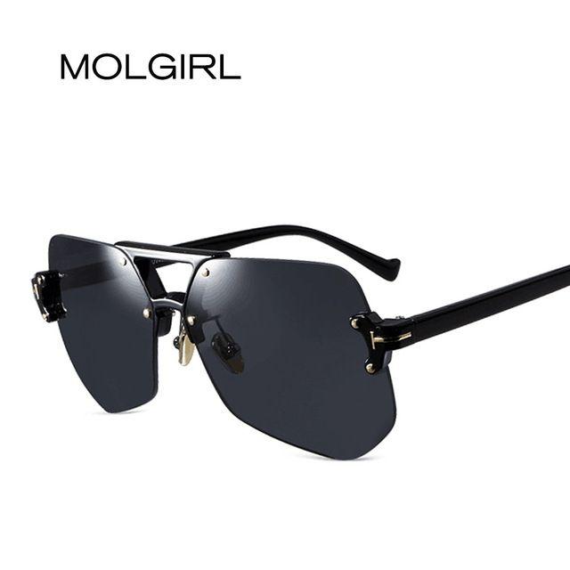 d50f8c2704 Promotion price MOLGIRL New Rimless Sunglasses Gradient Classic Optics  Metal Frame Women Men UV400 Vintage Sun