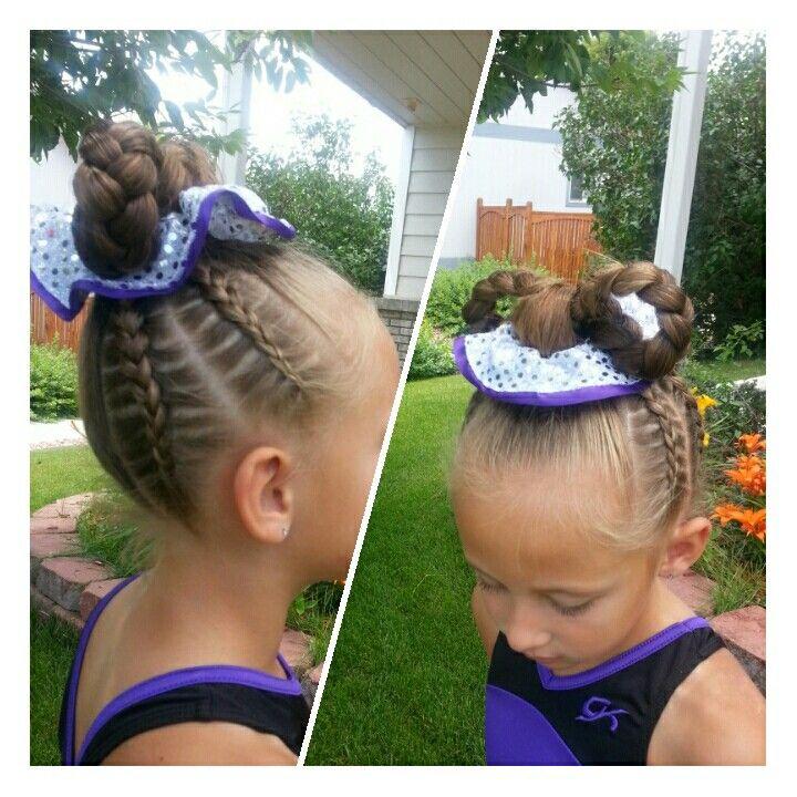 Gymnastics hair braids hair bow little girl hairstyles