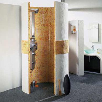 These walk in shower designs include round showers with a high ...