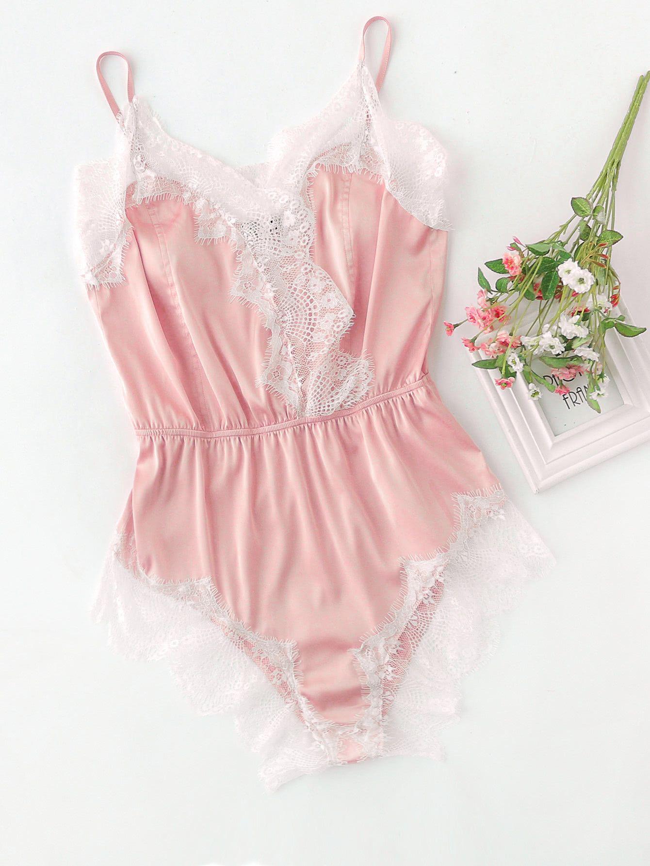 82ec465849 Shop Lace Trim Surplice Front Sleep Bodysuit online. SheIn offers Lace Trim  Surplice Front Sleep Bodysuit   more to fit your fashionable needs.