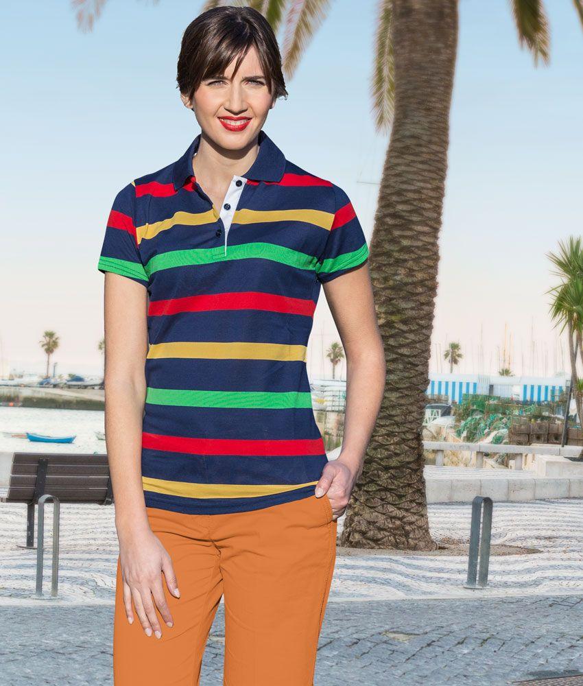 Damen Piqué-Polohemd, Streifen Blau-Rot-Grün-Gelb, 100 % Baumwolle ...