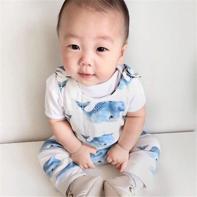 Newborn Baby Boys Girls Romper Sleeveless Summer Whale Jumpsuit White Playsuit Outfits Boy Girl Rompers Round Neck Clothing Bodysuits & One-pieces Mother & Kids