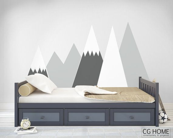Montagnes Wall Decal Woodland Lit De Lit Snow For Baby Kids Room Nursery Self Adhesive Sticker Scandinavian Decor Mountains004 Chambre Enfant Chambre Bebe Montagne Tete De Lit Enfant