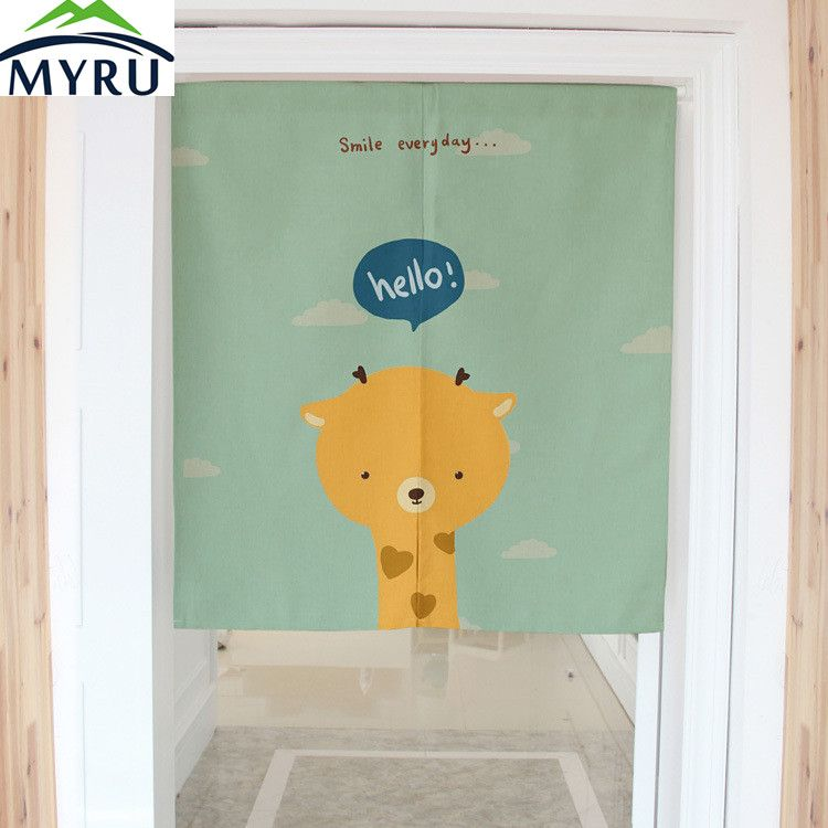 MYRU Cartoon Giraffe Digital Printing Dimidiate Door Curtain Cotton Linen Household Partition Door Curtain 80x90CM