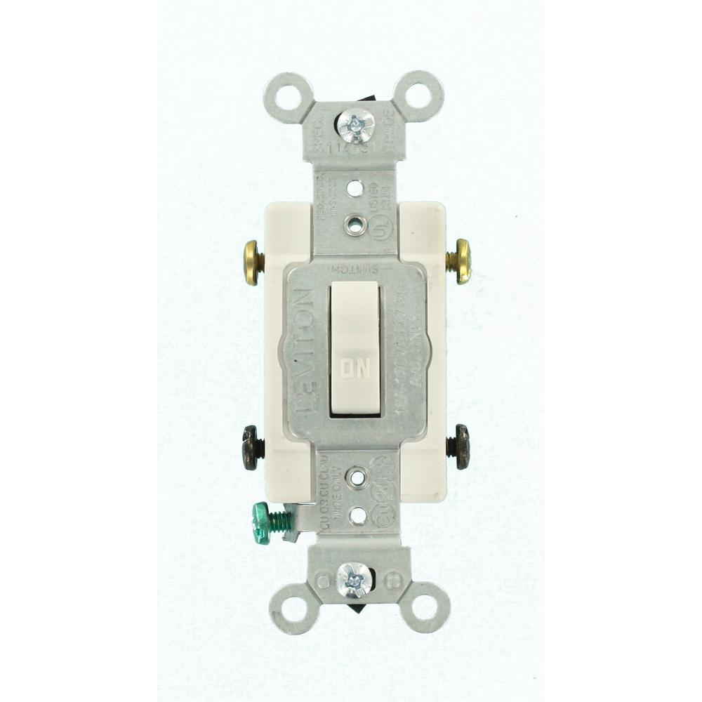 Leviton 15 Amp Commercial Grade Double Pole Toggle Switch White