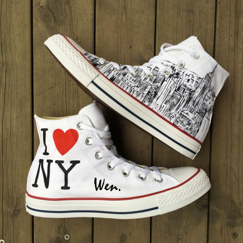 Photo of Unisex Hand Painted Shoes Converse All Star Custom I Love New York City Sketch