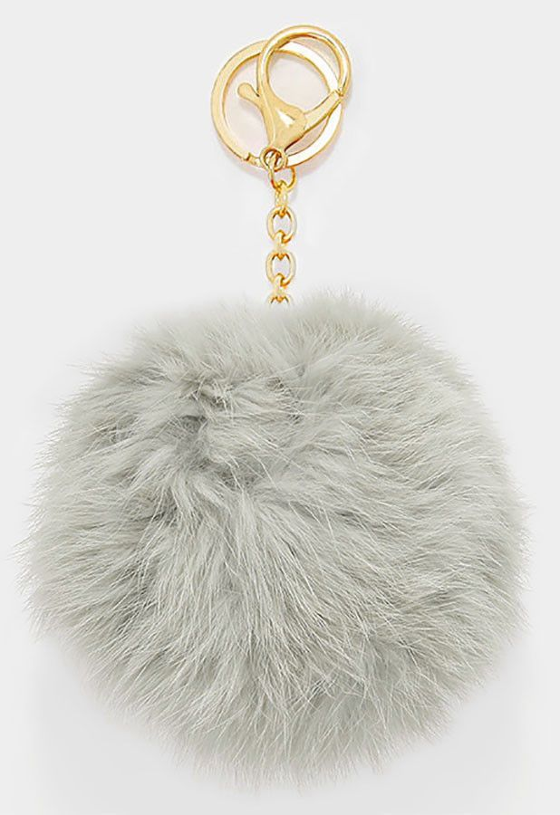 Large Rabbit Fur Pom Pom Keychain 08c86136b244