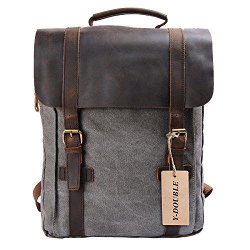 Mens Canvas Backpack Laptop Travel Rucksack Satchel Shoulder Bag Colors