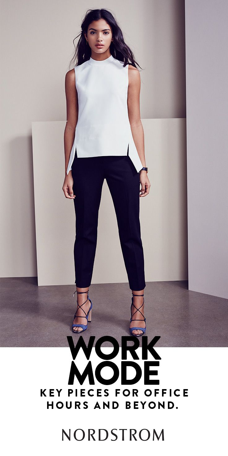 White top, black pants, bright shoes. This chic wear-to ...