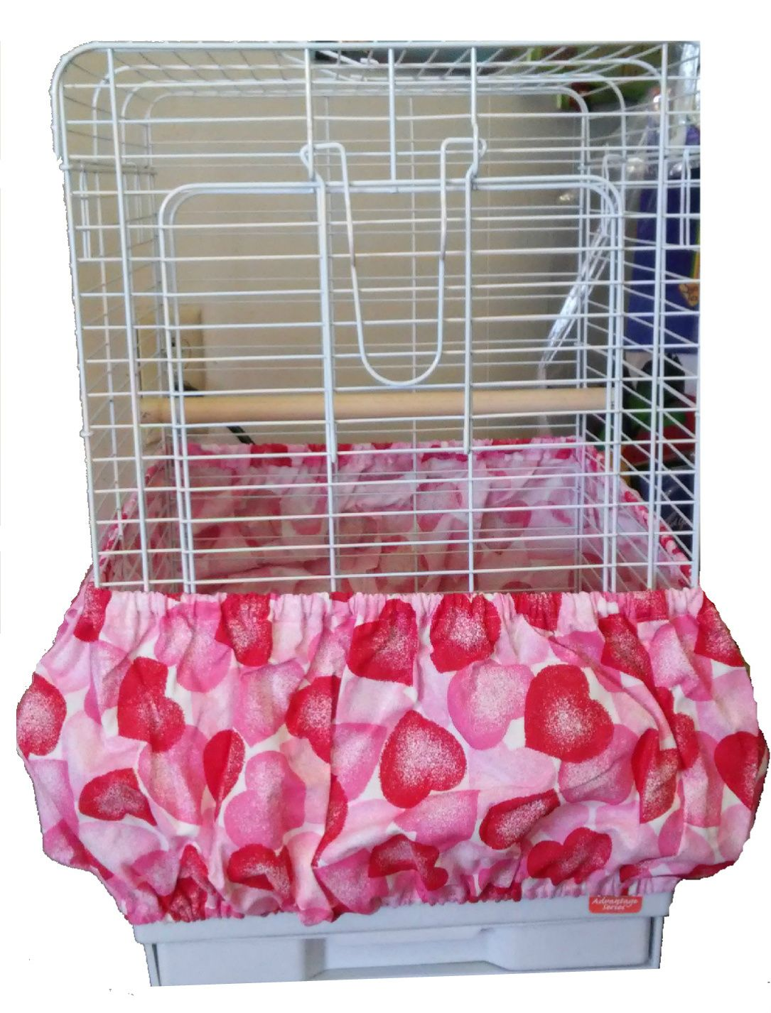 Beautiful Pink and Red Valentine Hearts on white Bird Cage Skirt Guard - NatureChest.com