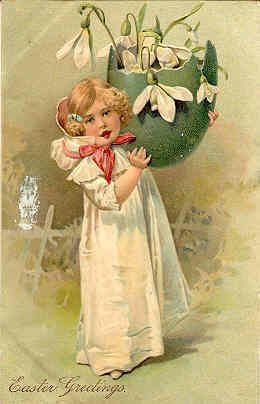 """"""" Easter Greetings, 1908 """" Vintage Post Card"""
