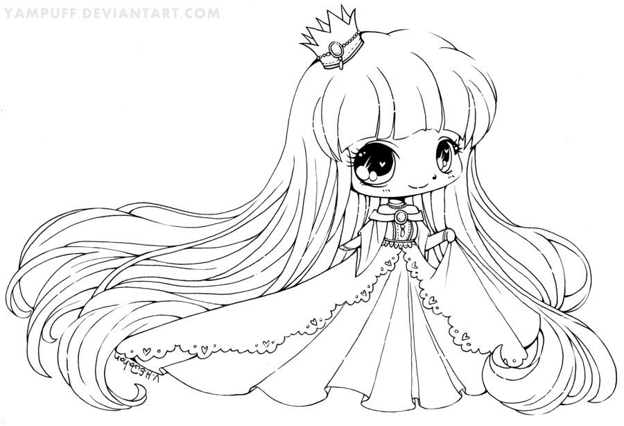 Little Princess Lineart By Yampuff On Deviantart Chibi Coloring Pages Cool Coloring Pages Coloring Pictures