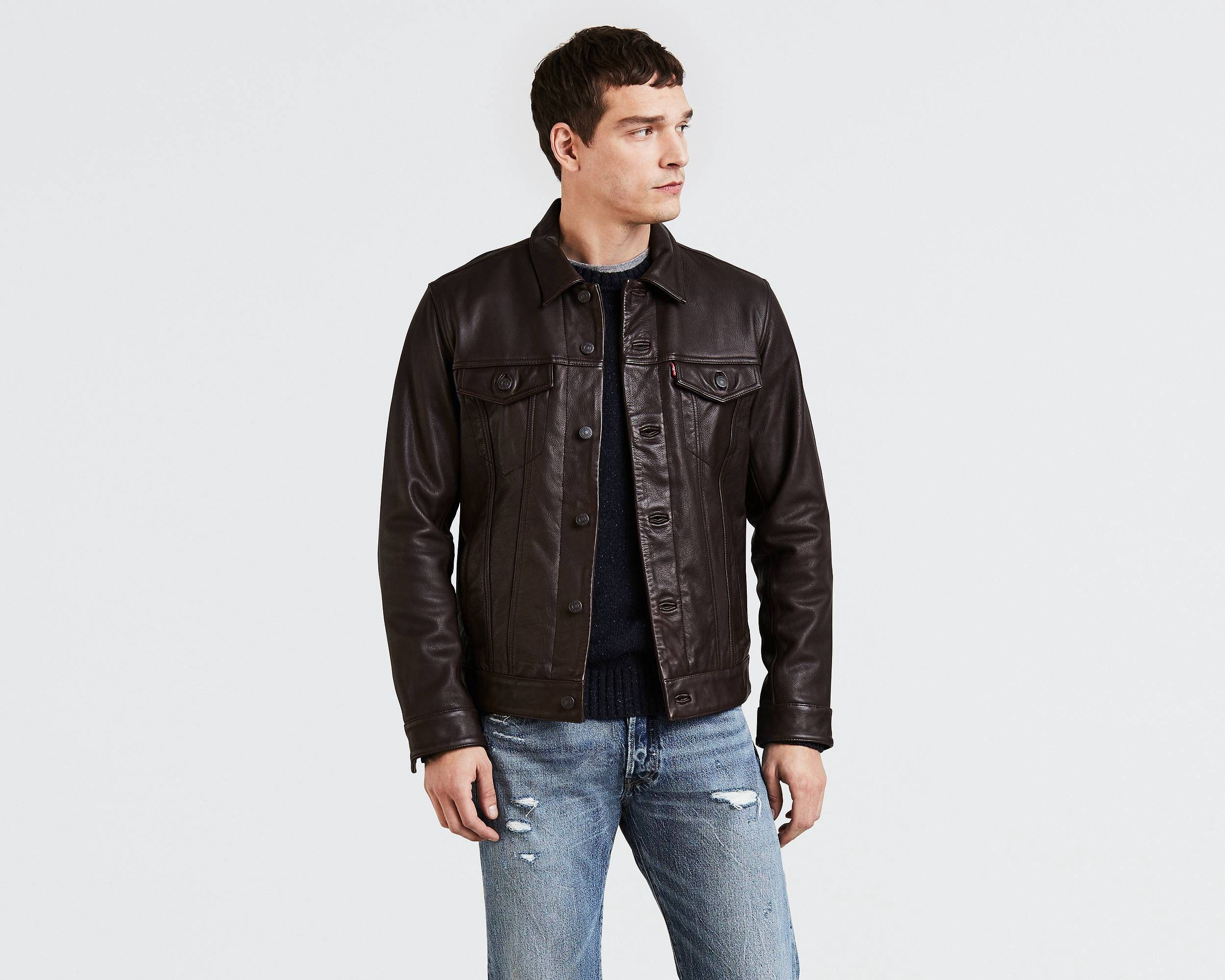 Levi's Leather Trucker Jacket Brown S Jackets, Clothes
