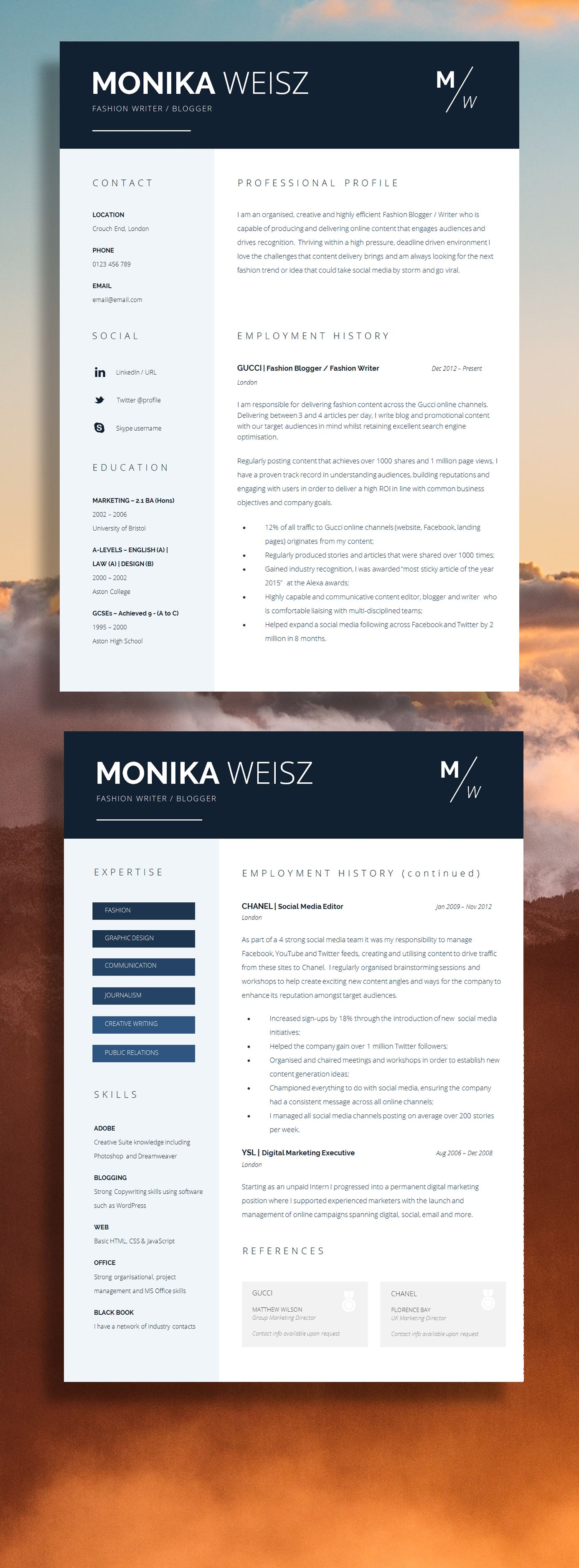 Creative Resume Template + Cover Letter + CV Guide for MS Word ...