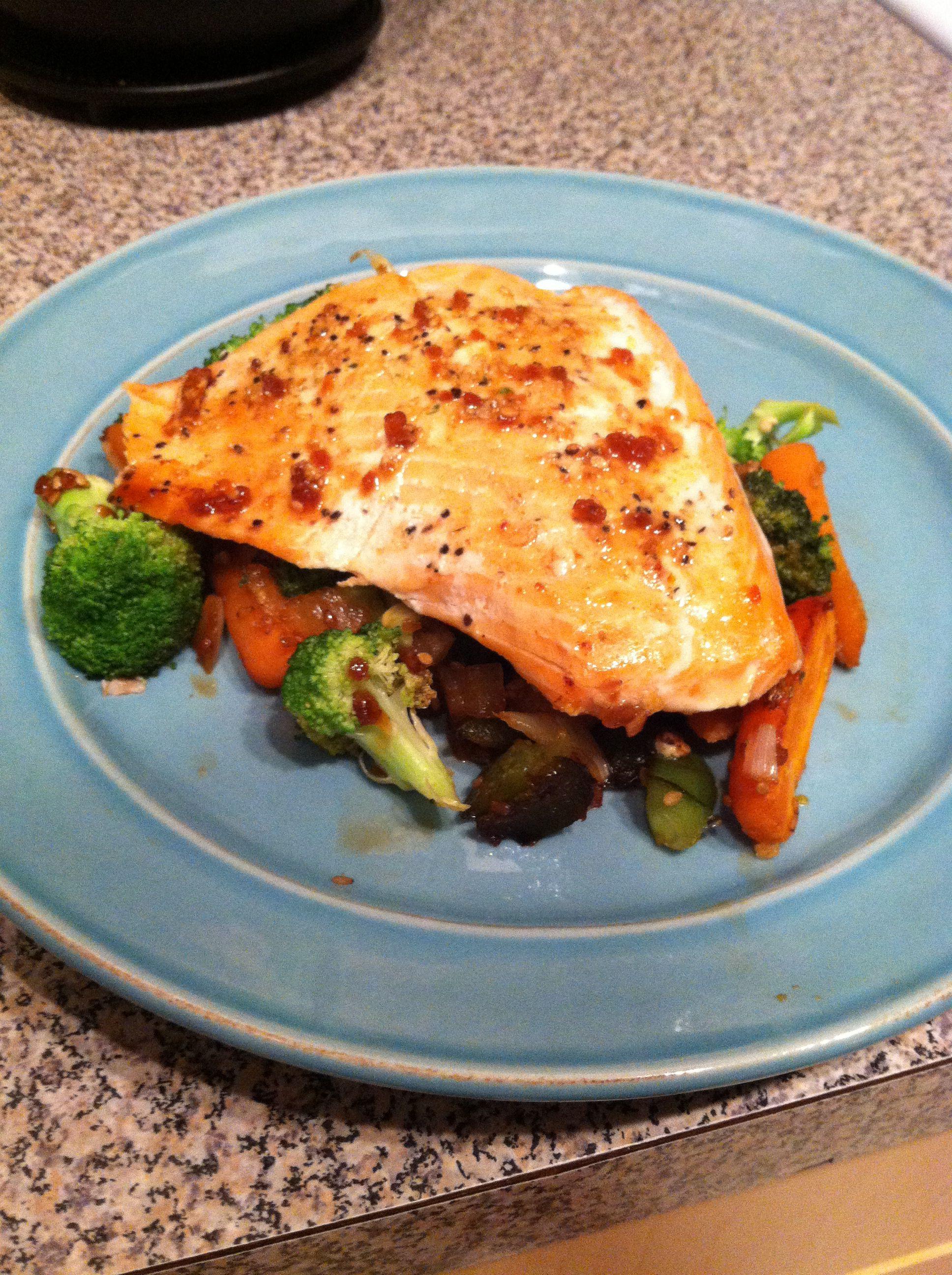 Grilled salmon over healthy stir fry veggies