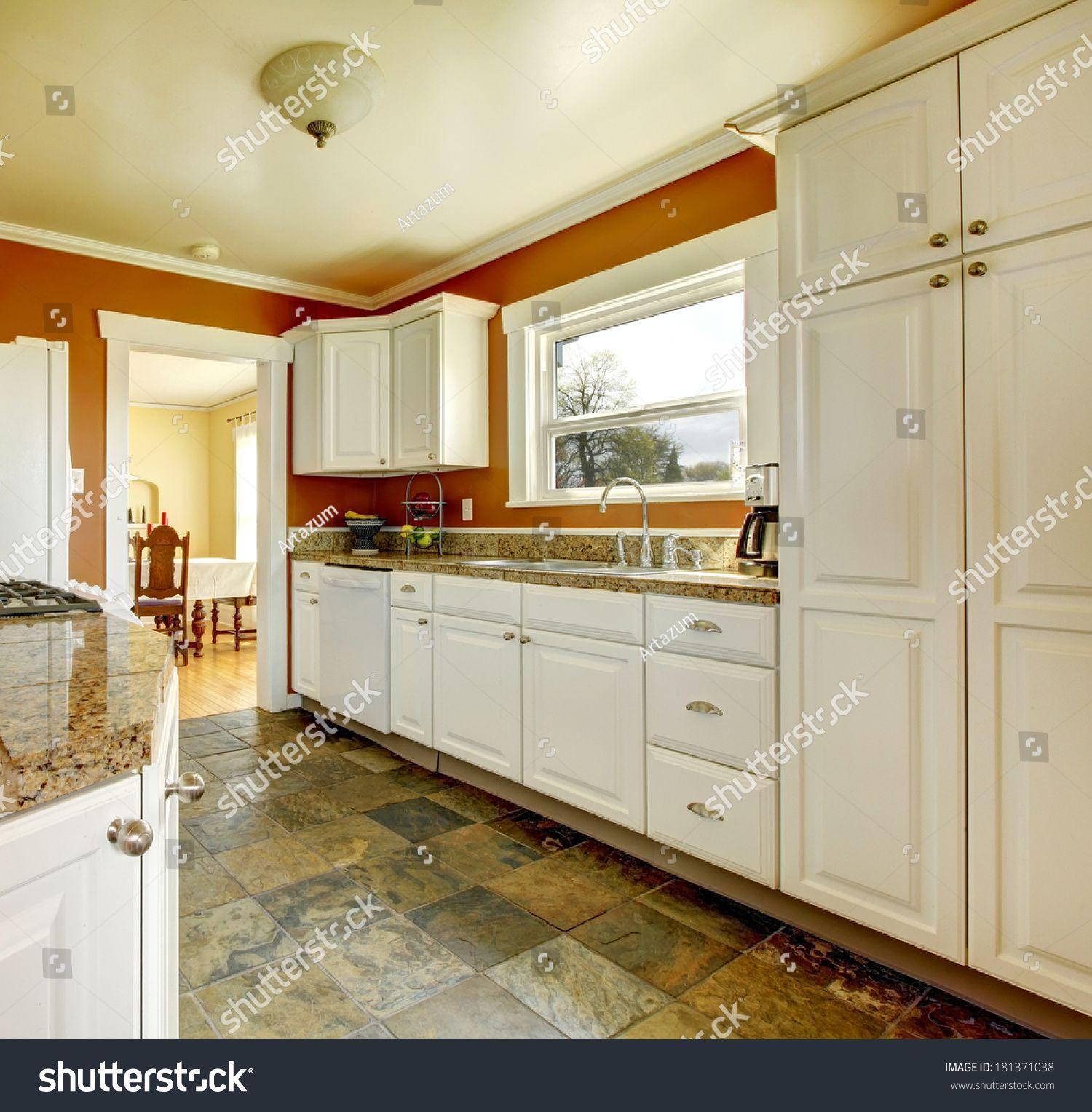 Kitchen Room With Concrete Floor Orange Walls And White Storage Combination Ad Affiliate In 2020 Kitchen Cabinets Kitchen Cabinet Design Kitchen Cabinets Orange