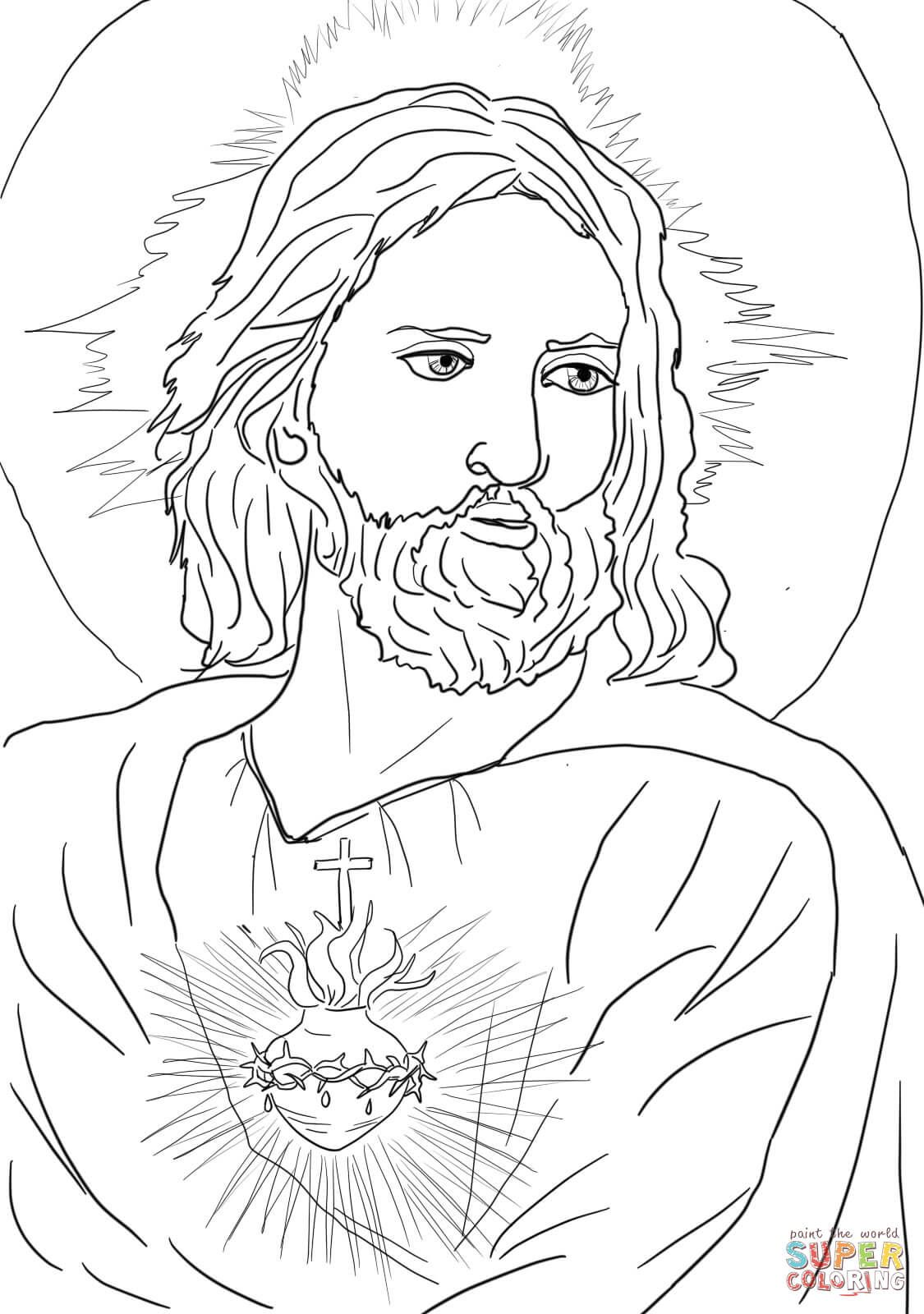 Sacred Heart of Jesus Super Coloring coloring pages