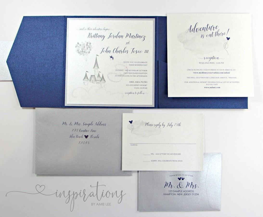 Disney Wedding Invitations Disney Wedding Disneyland Etsy Disney Wedding Invitations Pocket Fold Wedding Invitations Disneyland Wedding