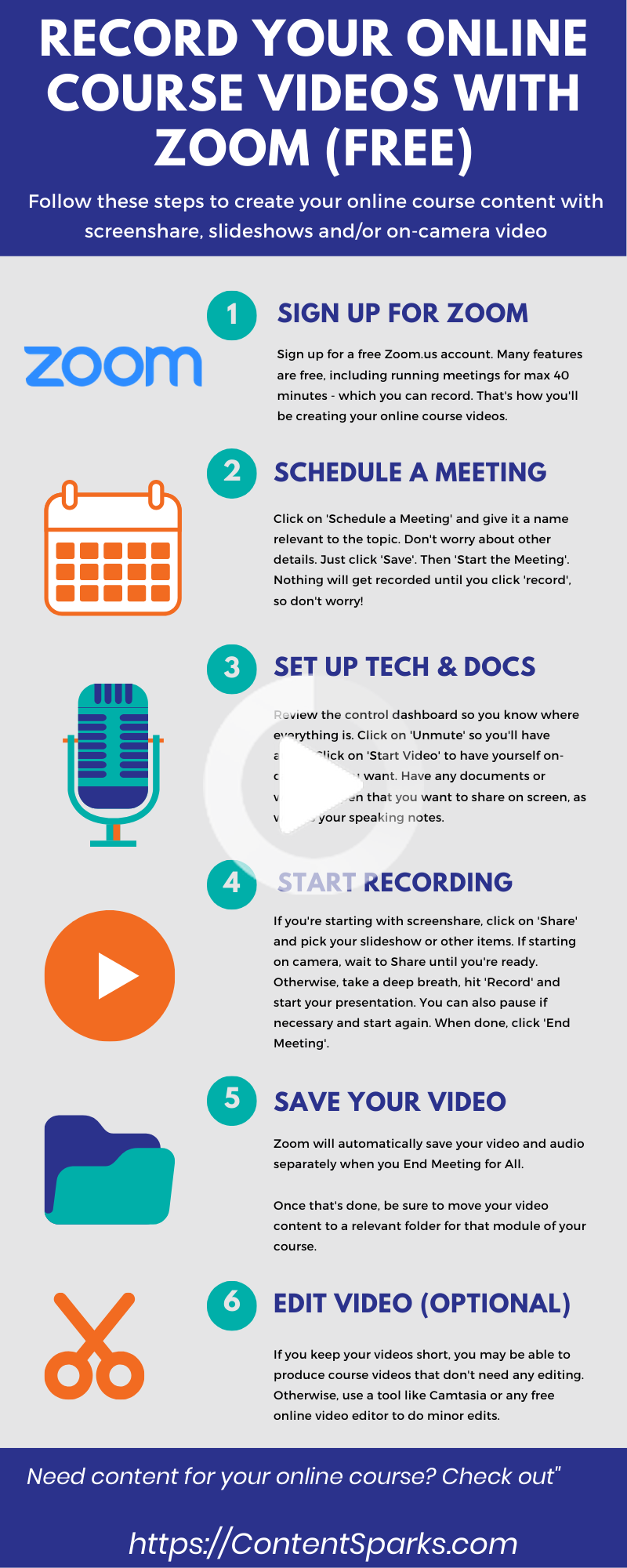 How To Record Your Online Course Videos With Zoom For Free Online Teaching Online Courses Teacher Tech