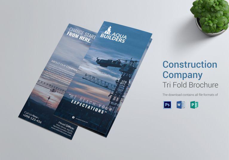 Construction Company Tri Fold Brochure Template Tri Fold Brochure