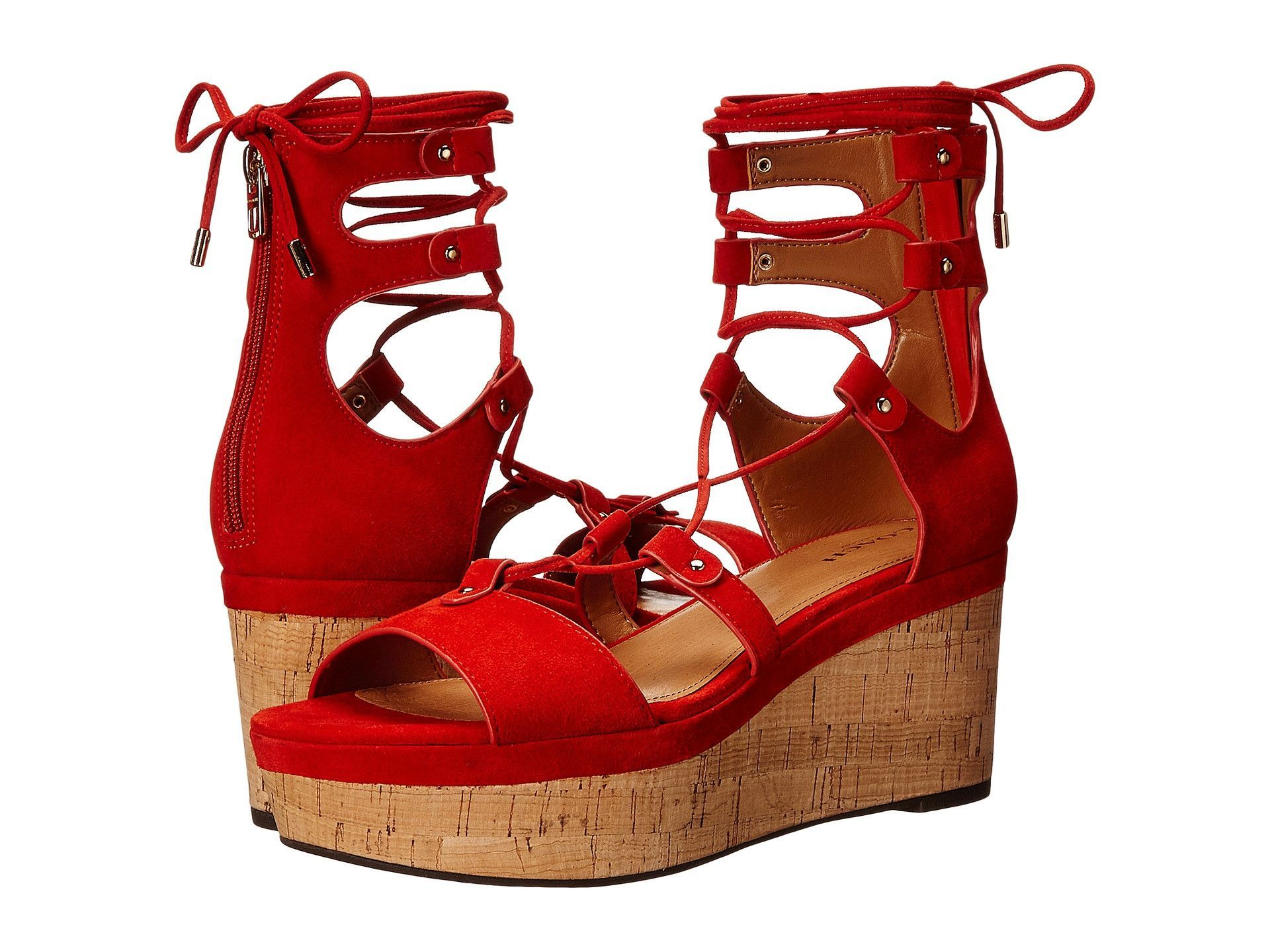 da7f471279f COACH Barkley Platform Sandals 8 Red