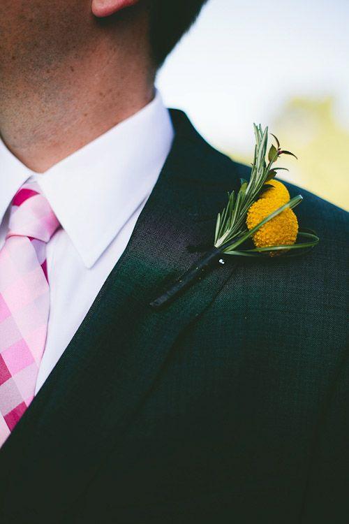 Love the yellow and pink color combo at this backyard wedding in Phoenix, Arizona, photos by Mike Olbinski Photography via JunebugWeddings.com