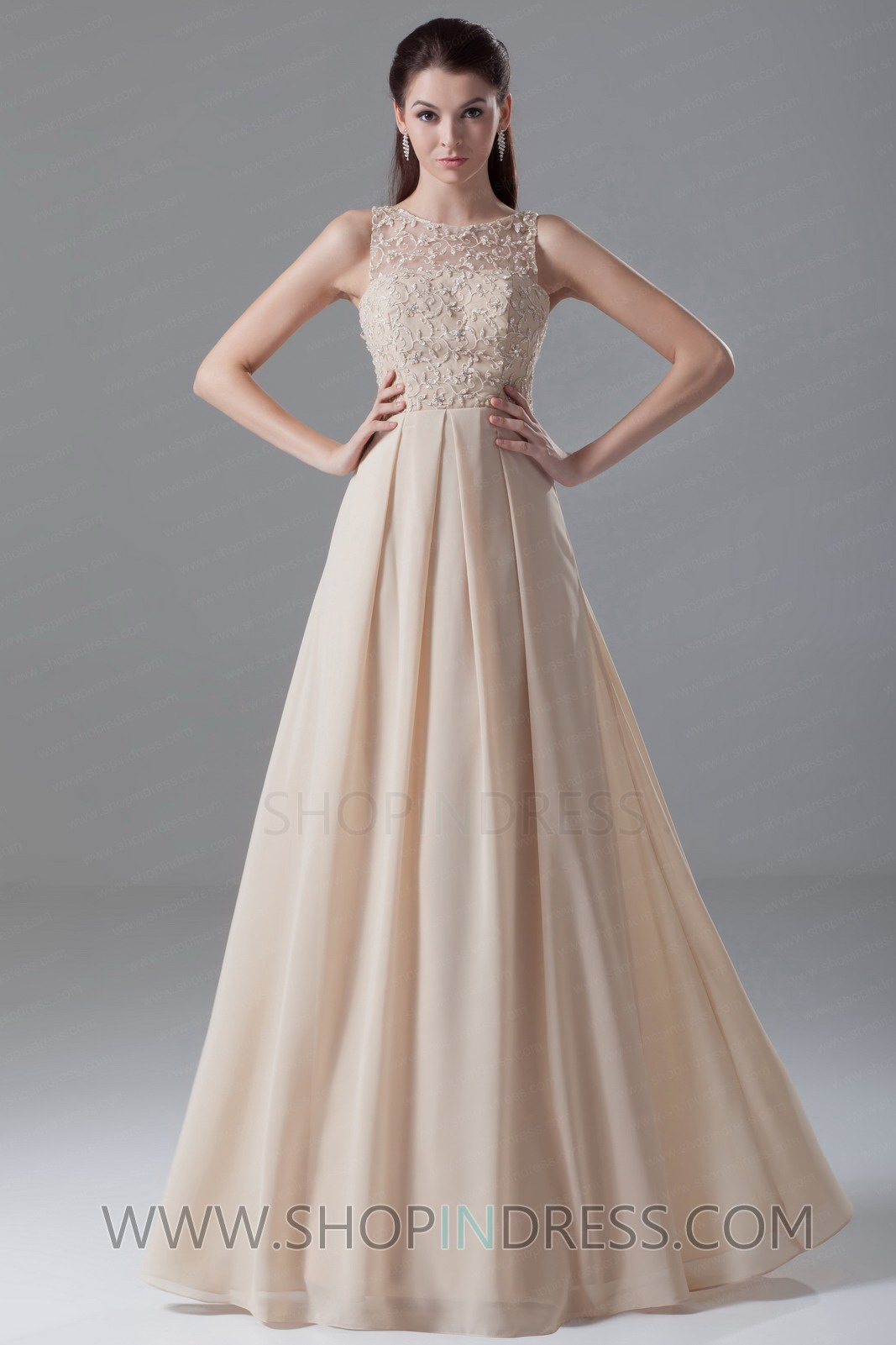 Aline square chiffon champagne prom dress with appliques tskn