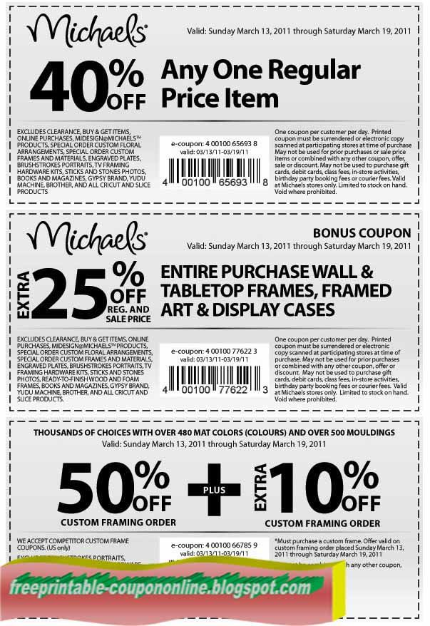Michaels Coupons Promo until MARCH 2017 many coupon codes ongoing ...