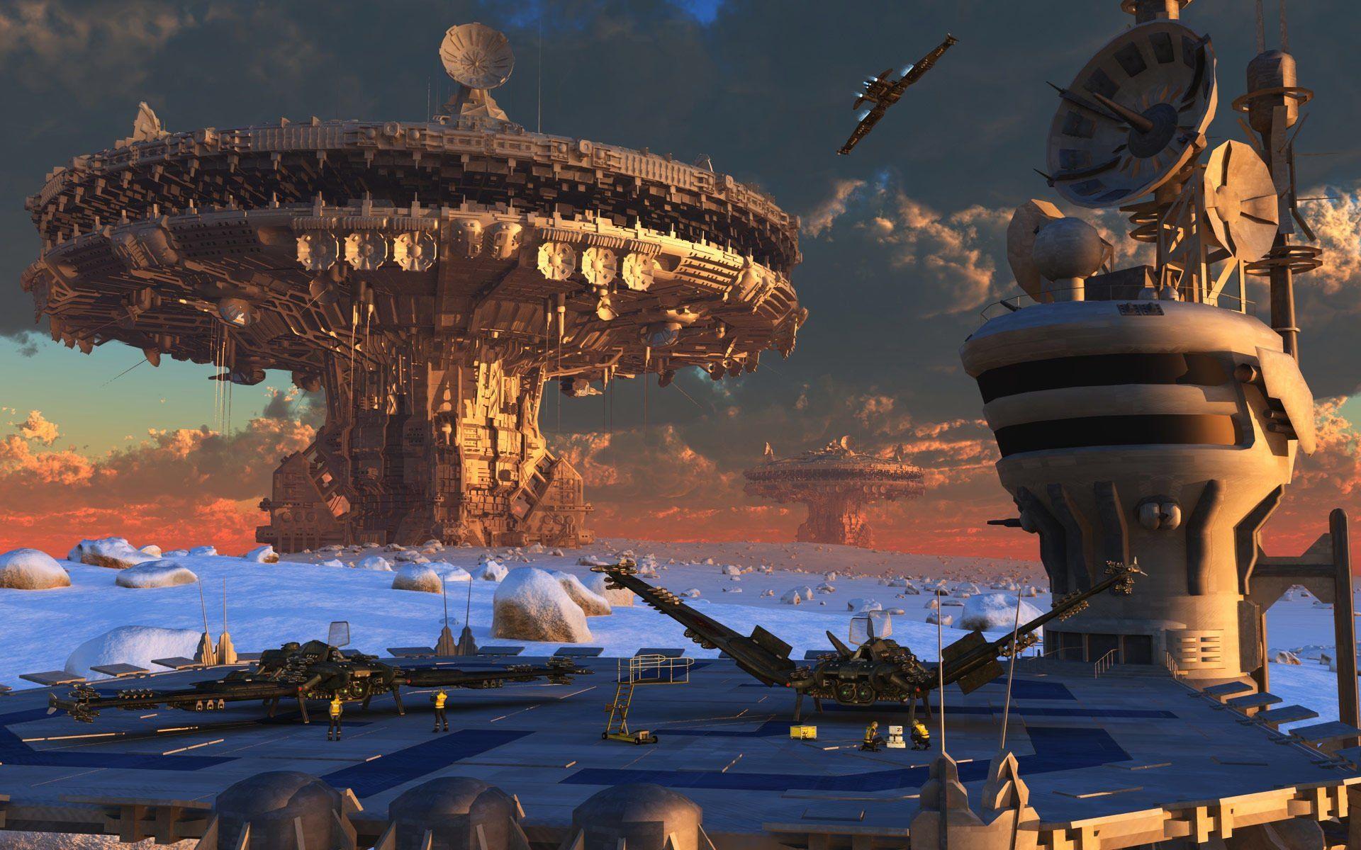 Sci Fi Spaceport Wallpaper Sci fi spaceships, Future