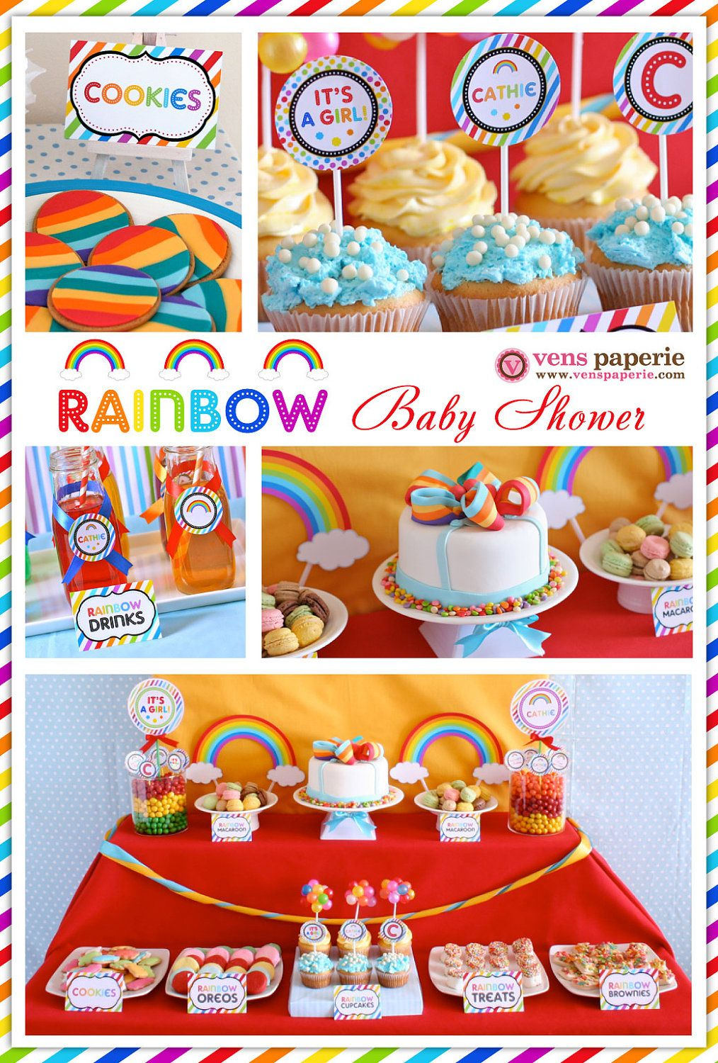 Rainbow Baby Shower Package Personalized FULL Collection Set   PRINTABLE  DIY   BS808x. $35.00,