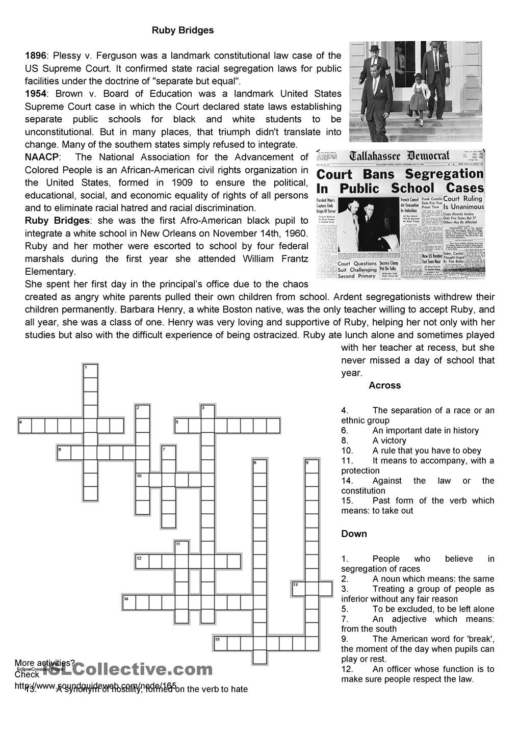 worksheet Civil Rights Worksheets civil rights ruby bridges esl worksheets of the day find this pin and more on learn about rights