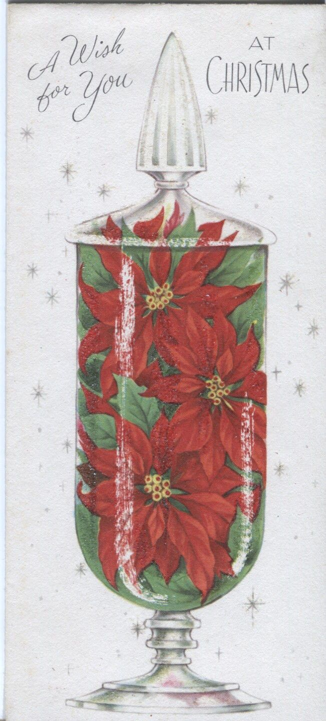 Vintage Gatto Christmas Card Poinsettias In A Jar Mica Glitter