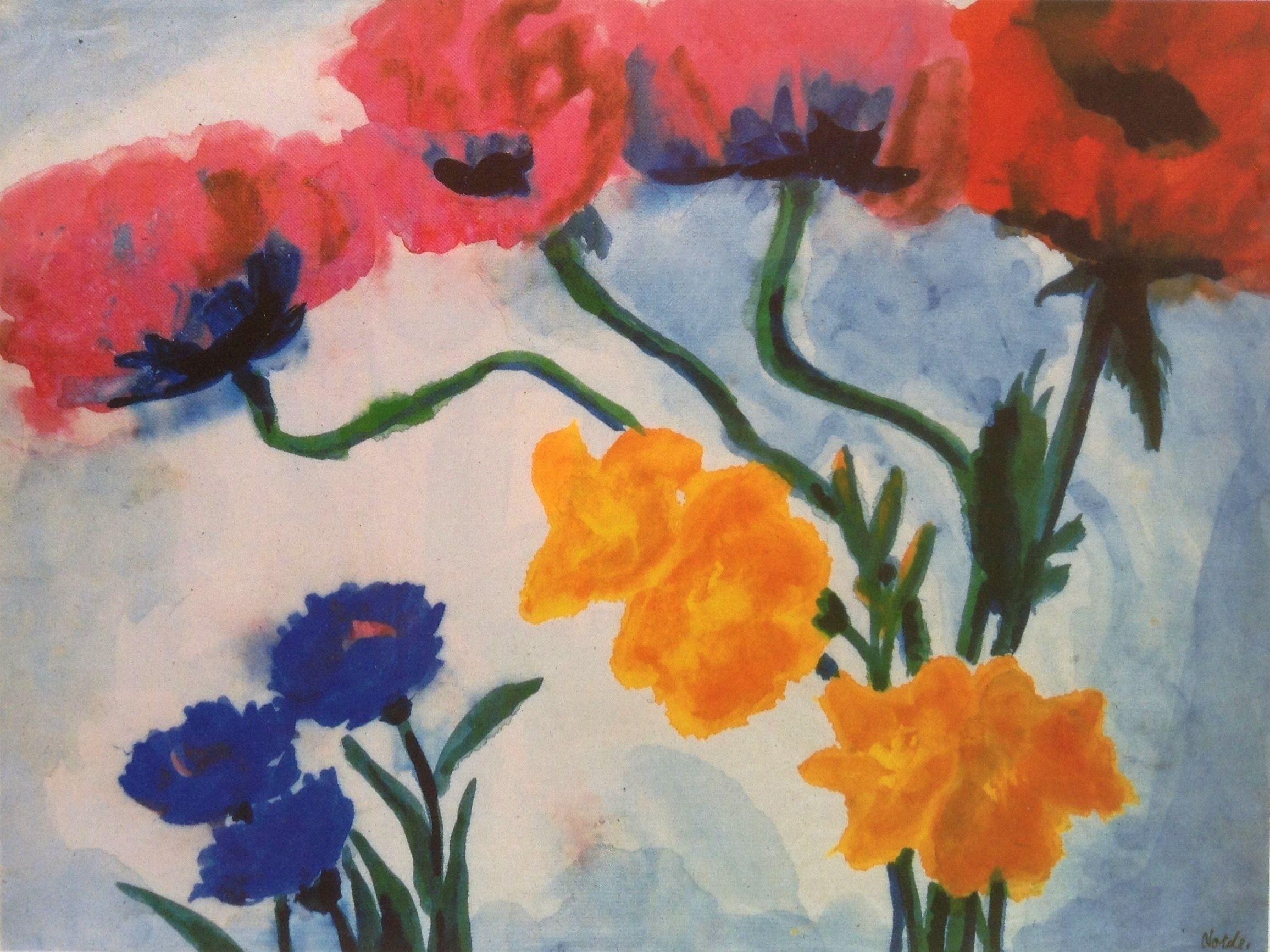 Emil Nolde Mohnblumen Emil Nolde Watercolor Flowers Poppies