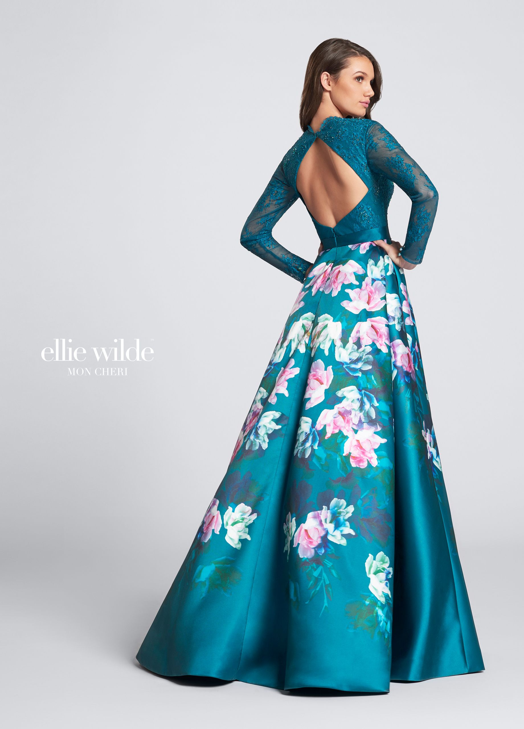 Long sleeve lace bodice floral print prom dress - Ellie Wilde ...