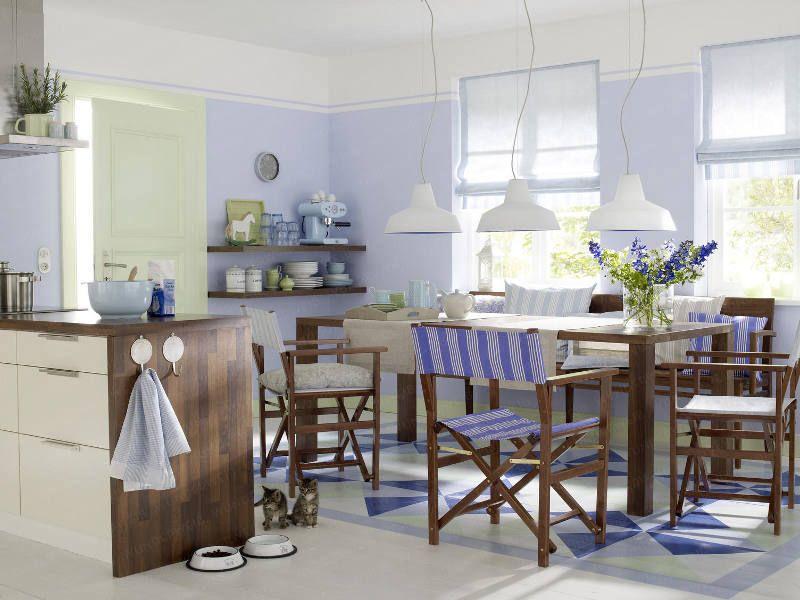 Wohnküche in Nussbraun und Blau - WUNDERWEIBde Hellblau Türkis