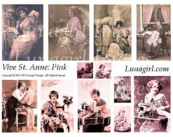 Victorian fans flowers mirrors Digital Collage Sheet by Lunagirl