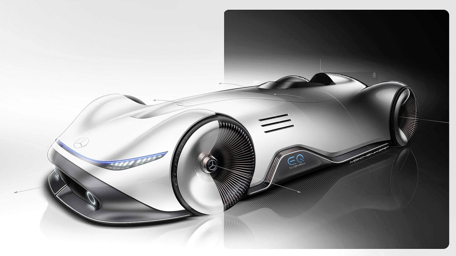 Mercedes Benz Eq Silver Arrow Evokes The Past With Future Tech Carscoops Concept Car Design Concept Cars Benz