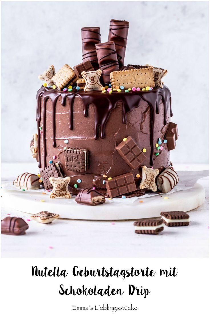 Nutella Chocolate Drip Cake Recipe Birthday Cake Tart Candy Bake Meringue ...  - Torten -