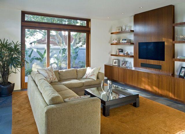 Holz Wohnwand Teppich beige Farbpalette Wohnzimmer einrichten - wohnzimmer beige modern