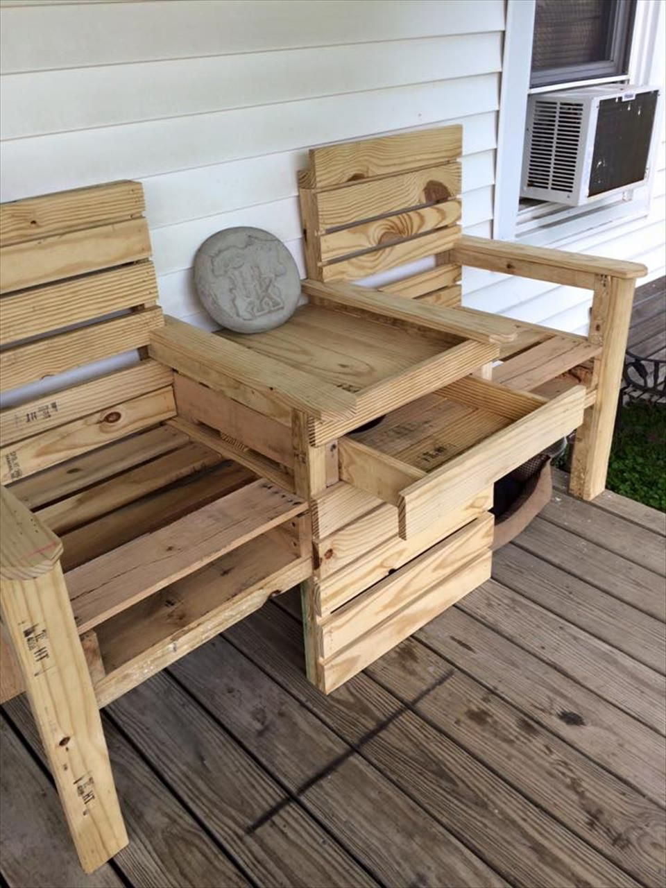 DIY Pallet Double Chair Bench 99