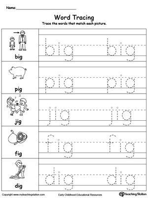 Word Tracing: IG Words