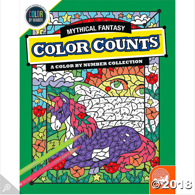 Color By Number Color Counts Mythical Fantasy Mindware In 2021 Colored Pencil Set Letter A Crafts Tropical Illustration
