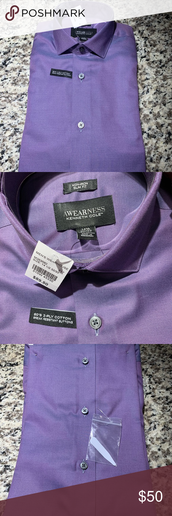 f247bc507a Purple men's dress shirt Awearness by Kenneth Cole men's slim fit dress  shirt. It picks up on purple and blue tones depending on the light. Never  worn.