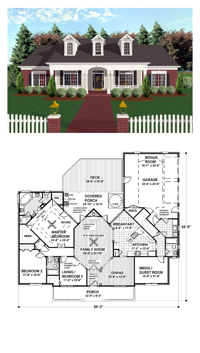 Ranch Style Cool House Plan Id Chp 17839 Total Living Area 1992 Sq Ft 3 Bedrooms And 3 Bathrooms Ranch Style House Plans Dream House Plans House Plans