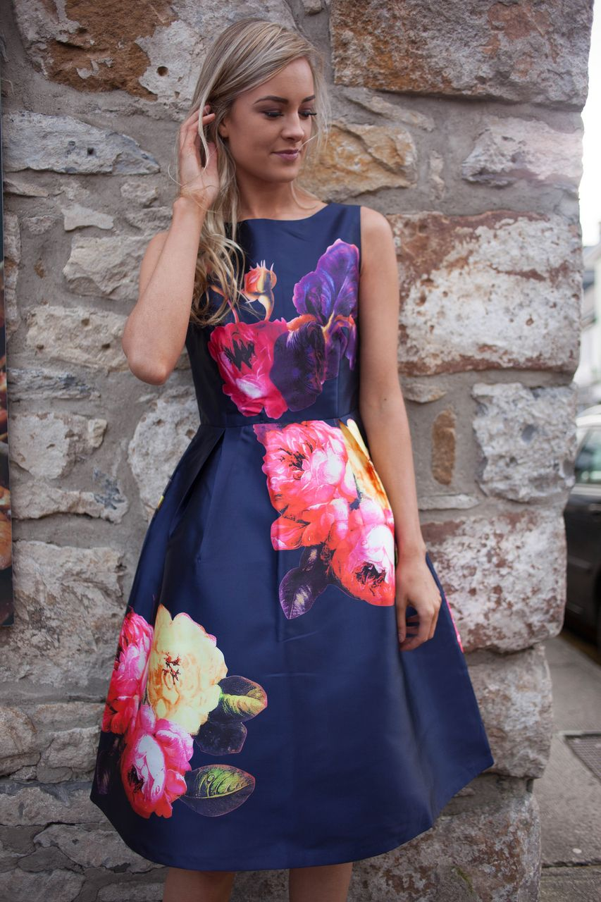 Navy Floral Printed Knee Length Midi Skater Dress with Pleats