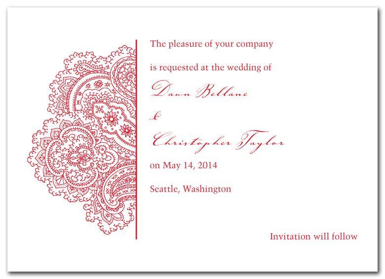 Mehndi Party Evite : Love the paisley action wedding invitation design