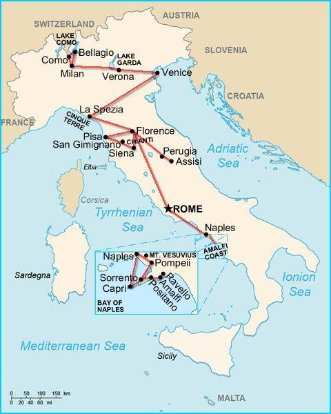 Vorgeschlagene Reiseroute Ruckwarts Von Venedig Nach Neapel In