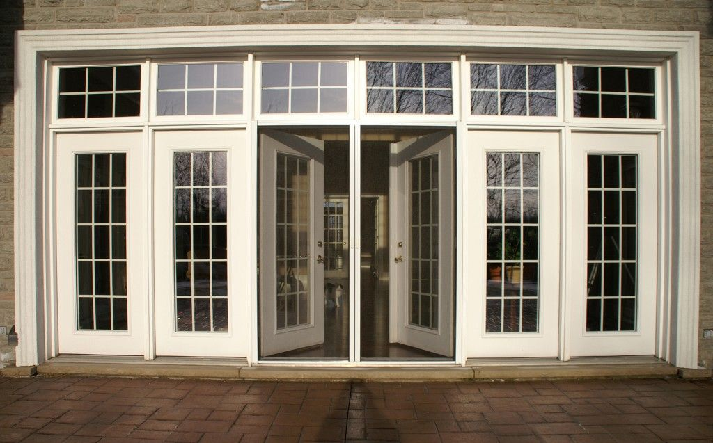 Marvelous screen door design for french door home for Double entry patio doors